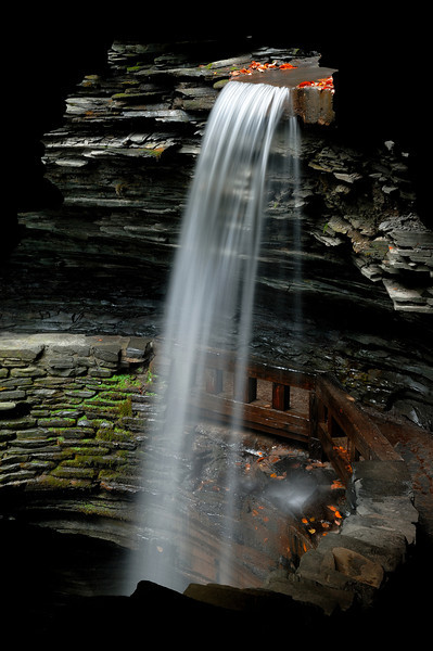This is the tallest of the falls in Watkins Glen(Cavern Cascade) ,I am taking this photo in a tunnel
