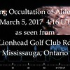 On March 5, 2017 a grazing occultation of Aldebaran occurred.  To observe and image this event two cameras were setup on Lionhead Golf Club Road in Mississauga Ontario.  This video synchronizes the raw footage from the graze with the light curve and limb profile created by Brad Timerson of the International Occulation Timing Association to show  what was happening on the edge of the moon to cause Aldebaran to blink on and off.  Video by Andreas Gada.