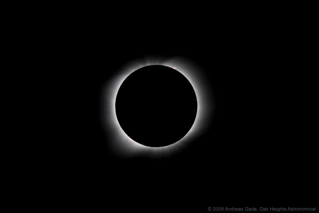 """August 1, 2008 Solar Eclipse, Khoton lake Mongolia, Inner Corona, Sky Watcher ED 80, 600 mm f/7.5, on a stripped down Losmandy GM-8 mount.  Canon 40D camera, ISO 200, 1/250"""", 10:58:04 UT"""