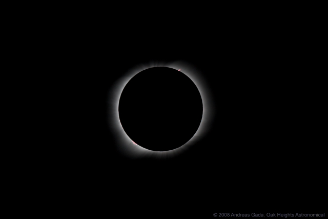 """August 1, 2008 Solar Eclipse, Khoton lake Mongolia, Inner Corona with Prominences, Sky Watcher ED 80, 600 mm f/7.5, on a stripped down Losmandy GM-8 mount.  Canon 40D camera, ISO 200, 1/500"""", 10:57:58 UT"""
