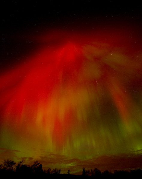 """Andreas Gada, Aurora Composite of five images, October 24, 2011 9:32 - 9:34 pm EDT as seen from Sandy Flats Rd, Roseneath.  Canon 40D, Canon 10-22mm lens set at 10mm and f/3.5.  ISO 1600, 15"""" exposure."""