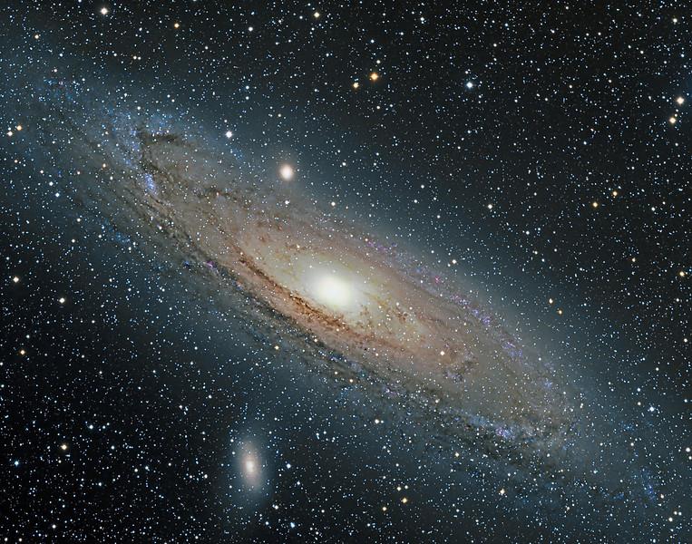 M31 Andromeda Galaxy. 7x15m,4x5m,4x1m L all binned 1x1, 6x5m each RGB binned 2x2.<br /> Taken by Lynn Hilborn., WhistleStop Obs, Oct 09, 2010. NP101is @ f4.3, ML8300 camera.