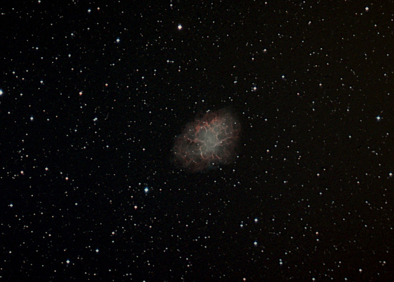 M-1, the Crab Nebula supernova remnant, first discovered by Chinese astonomers in 1054 AD, is 6300 light years away. Image taken with 152 mm f/5.9 achromat, IDAS LPR filter and SBIG ST-8300C camera from Gold Canyon, AZ on Feb. 13 & 22, 2013, processed in Images Plus 5. Total exposure time was 4 hours 10 minutes (50x5 min subs). Rick & Rosemary Kelsch
