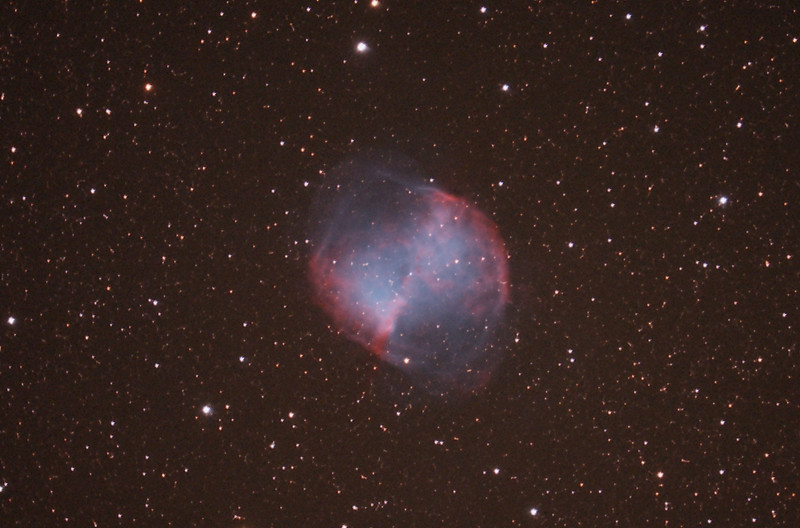 M27 (Dumbell Nebula) through C- 8 @f/6.3,  60 min (12x5') @ ISO 1600 with modified Canon 300D, processed with Images Plus. Taken at Stellaridge Observatory (Og's Bog) on Oct. 18. Image aquisition by Rick Kelsch, and image processing by Rosemary Kelsch