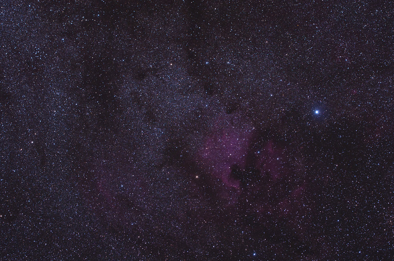 North America Nebula, and faintly the Pelican.<br /> 5 minute exposure, Astrotrac (unguided) Hutech modified Nikon D300s<br /> 500 iso, 105mm f 3.5<br /> Malcolm Park, Algonquin Park, Oct 1 2011