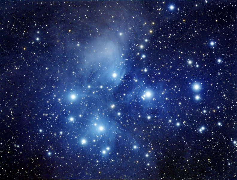 Seven Sisters...M45   LRGB  6x10m Lum binned 1x1, 4x5m each RGB binned 2x2. Taken Dec 21,2009 with NP101is @f5.4 and ML8300 camera at -40C.  Reduced,aligned,combined in CCDSoft and finished in PS CS3. Taken by Lynn Hilborn, Whistle Stop Obs, Grafton, On.
