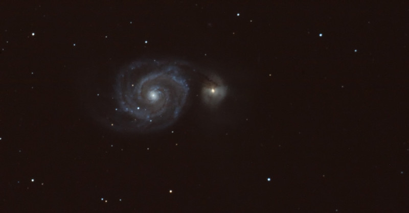 "M51<br /> 10"" LX200 @ prime focus 2500mm, guided with KW KWIQ guider using Maxim DL 4<br /> EQ6 Pro controlled through EQDIR and EQMOD<br /> Nilon D3 Single frame, 10 minutes exposure 1600iso<br /> manual focus, shutter trigger on camera via cable release"