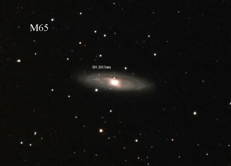 News broke on March 21 that M. Sugano, of Kakogawa, Japan had spotted a new supernova in the galaxy M65<br /> I had no idea when I shot the Leo Trio last night but here is the full res view of it, and I captured the Supernova!<br /> Malcolm Park
