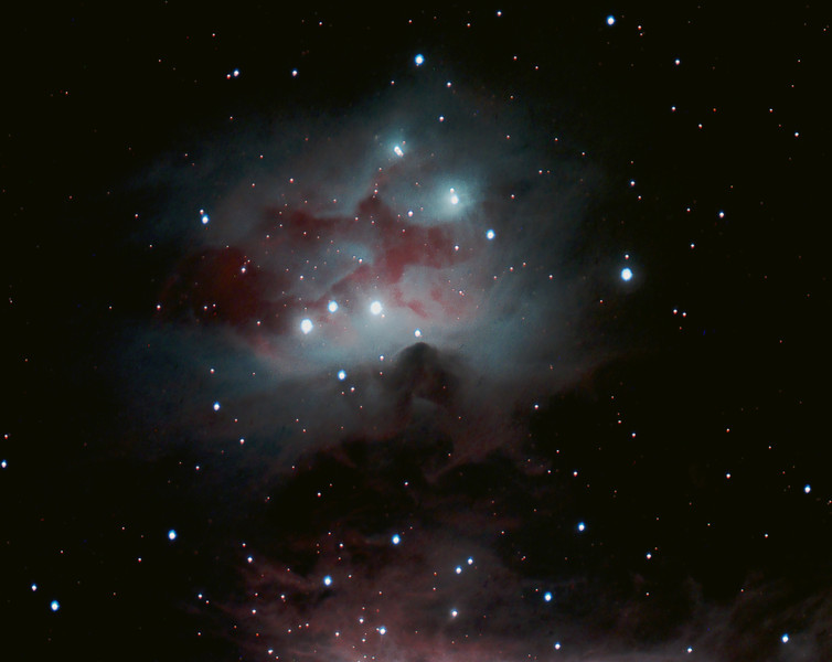 The Running Man nebula,adjacent to the Great Nebula in Orion (NGC 1973, 1975 & 1977), taken March1-6, 2013. 152mm f/5.9 achromat, IDAS LPR filter and SBIG ST8300C camera, from Gold Canyon AZ. Total exposure time 5 hours 50 minutes (70x5 minute subs), processed in Images Plus 5. Rick & Rosemary Kelsch