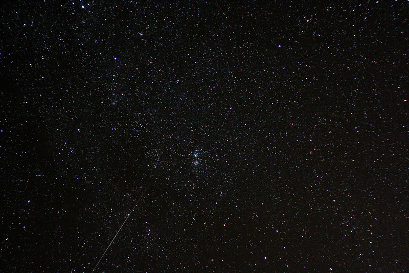 Double Cluster from Oak Heights, Sept,. 19, 2009.   Surprised to catch a meteor when I didn't see one all night.<br /> John Merchant