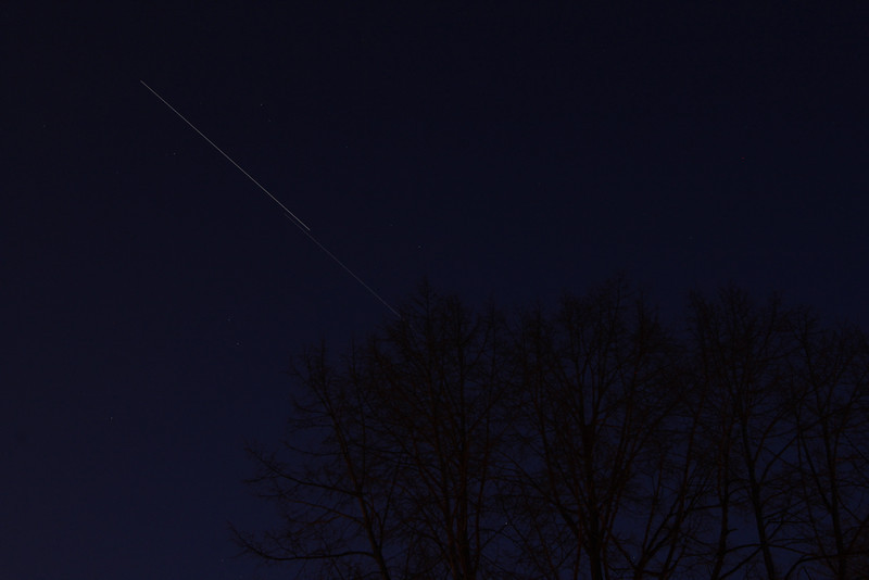 ISS trailing the shuttle Discovery.<br /> Toronto, ON, Canada,  March 7, 2011<br /> John Merchant