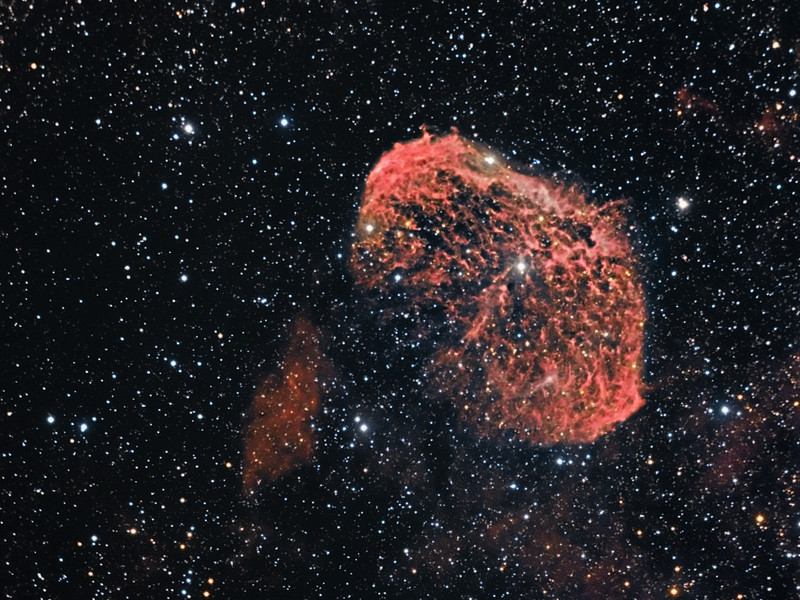 NGC6888 Crescent Nebula  C9.25 @f6.3 and ML8300 camera 3 hours of Ha and 30m each of RGB. Taken May 24 by Lynn Hilborn, WhistleStop Obs.