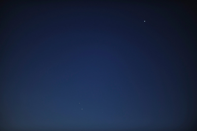 Venus in upper right, Mercury and Saturn (brighter of the two)lower centre-left