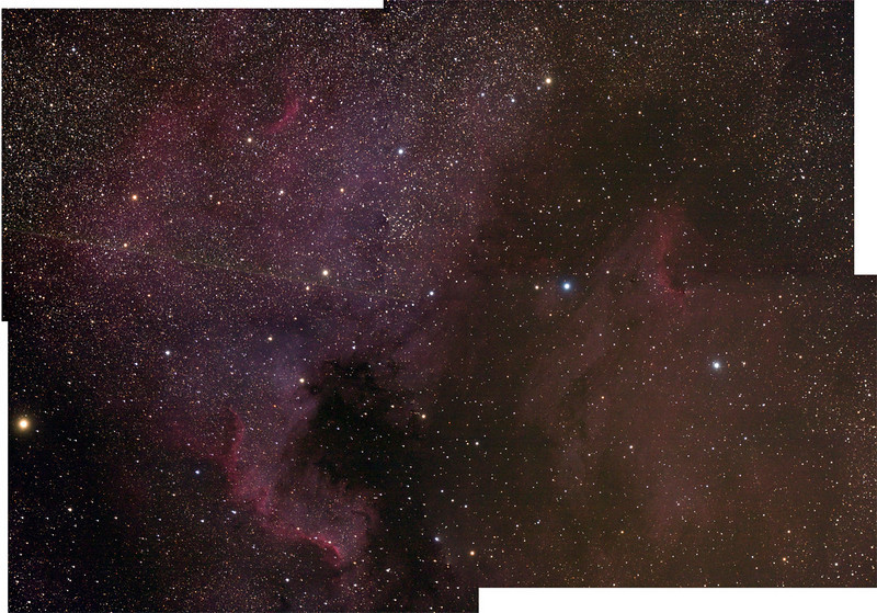 North American Nebula, Lorenz Observatory, Sep 20, 2009 Canon 40D, on 130 Starfire ED with focal reducer f/4, ISO 1600, and 10' exposure.  Four images were merged in Photoshop CS3 and then auto level applied to create this image.  This was a test to determine how well the autoguider was working as well as what could be accomplished with minimal image processing.    Andreas Gada