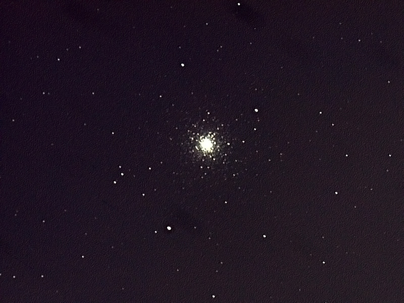 M3 is a globular cluster near Arcturus. This image is heavily processed to remove sky fog and a pronounced drift due to mis-alignment of the telescope.