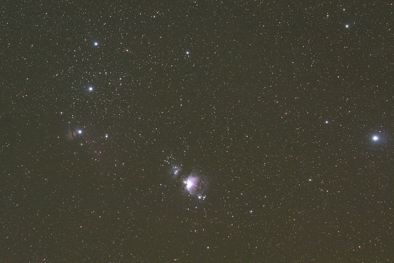 Orion Sword and Belt, Canon XSi no mod, ISO 1600, single shot, 4 minutes, Nikkor-P 105mm lens at f/5.6, unguided on an Astrotrac.  Taken October 7 at the Okie-Tex Star Party<br /> Dave Cotterell