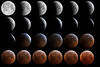 "Montage of moon entering umbra to mid eclipse during December 21, 2010 lunar eclipse.  Exposures are approximately 4 minutes apart except for the longer interval at the start of the umbra phase in the upper left.  All photos taken from Whitby, Ontario using a Nikon D90 at the prime focus of a 6""f7 Newtonian tracking at lunar rate on a German equatorial mount.  Exposures, all at ISO 400, range from 1/500 to 1/60 sec for umbra entry to multiple seconds for total umbra.  GIMP used to tweak exposure values for a pleasing transition and to combine into a montage.<br /> Dave Ledger."