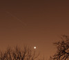 ISS over Toronto, looking west from The Beaches with a lovely crescent Moon.<br /> Don't you just love our dark city skies?<br /> John Merchant