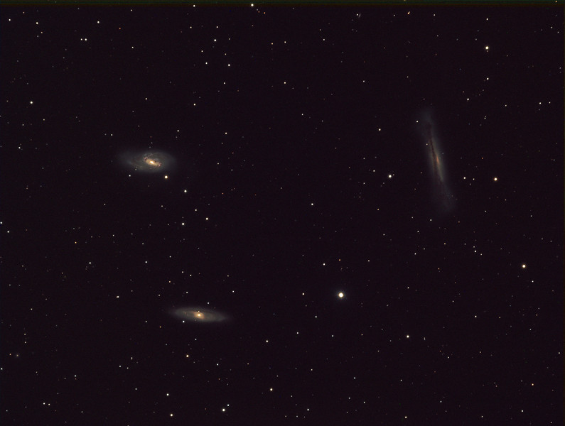 Leo Trio by Malcolm Park<br /> Image capture using club scope at Lorenz Observatory, Oak Heights.<br /> RGB 7X 200s 2x bin @-20<br /> L 7x 300s 1x bin @ -20<br /> Dark and flat calibration applied.<br /> Processed in Maxim DL v5, Lightroom and CS6<br /> guided images, short because of air traffic overhead. Some subs were ruined, but short ones reduced the risk.