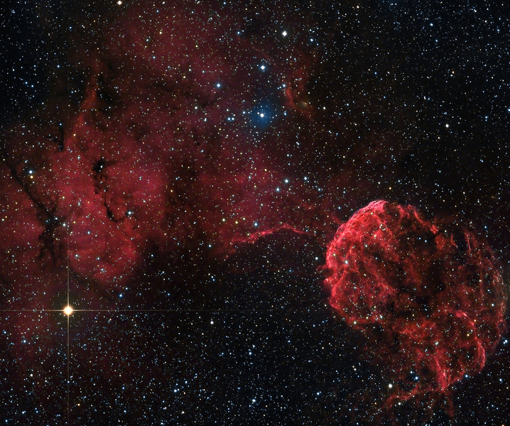 The Jellyfish nebula ( IC 443 ). 260m Ha and 25m each RGB taken over 2 nights March 17 and 18, 2010. NP101is @ f4.3 and FLI ML 8300 camera. Taken by Lynn Hilborn, Grafton, Ontario