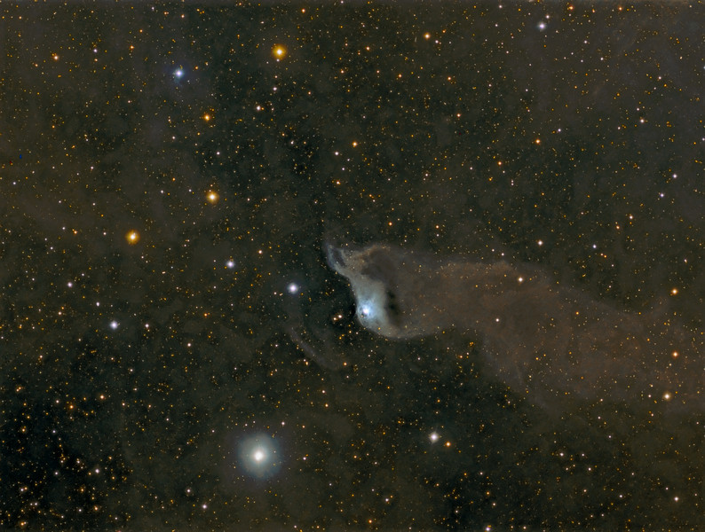 vdB 152 in Cepheus. Devouring stars !! 7.5 hours of exposure. TEC 140@f7 and FLI ML8300 camera on Takahashi NJP mount. Lum 1x1 27x10m, RGB each 2x2 12x5m. Taken by Lynn Hilborn, WhistleStop Observatory, Grafton, Ontario on July 6 and 8, 2011.