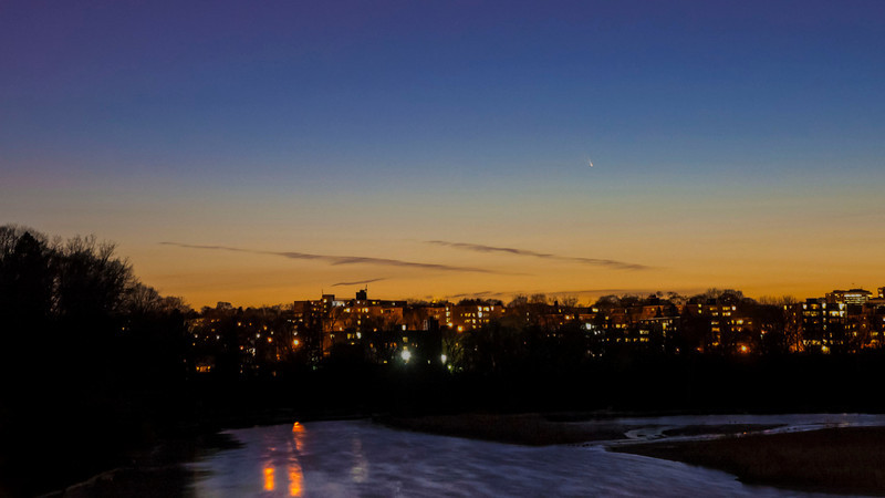 PanSTARRS shot by Anu Bhardwaj from west Toronto (Riverside Drive/South Kingsway) using a Nikon D70S + Tamron 17-50mm f/2.8 lens (10s exposure at 35 mm, ISO 400).  Touched up in Lightroom and Photoshop.  Had a great time chilling [literally - it was cold!!] with friends.