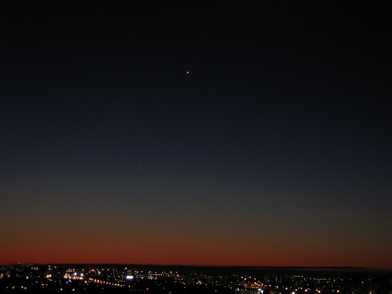 Venus, Saturn and Mercury (from the top). Taken on October 11th 2009, around 6:30am from my balcony (close to Yonge and Finch). Ciprian Scriuba