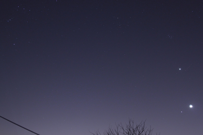 Orion, Hyades, Pleiades, Venus, Jupiter and Moon   March 25, 2012<br /> T1i w/24-105 L lens @ 24mm, 6 sec @ f/4, ISO 800, Tungston WB<br /> John Merchant