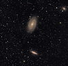 M81 M 82 in  HaLRGB .  Taken by Lynn Hilborn, WhistleStop Obs, Grafton, Ontario. December 2009. ML8300 and NP101is.<br /> at 540mm fl.  1 hour of Ha 2 hours of Lum. both 1x1 bin...RGB at 6x5m each at 2x2 bin.