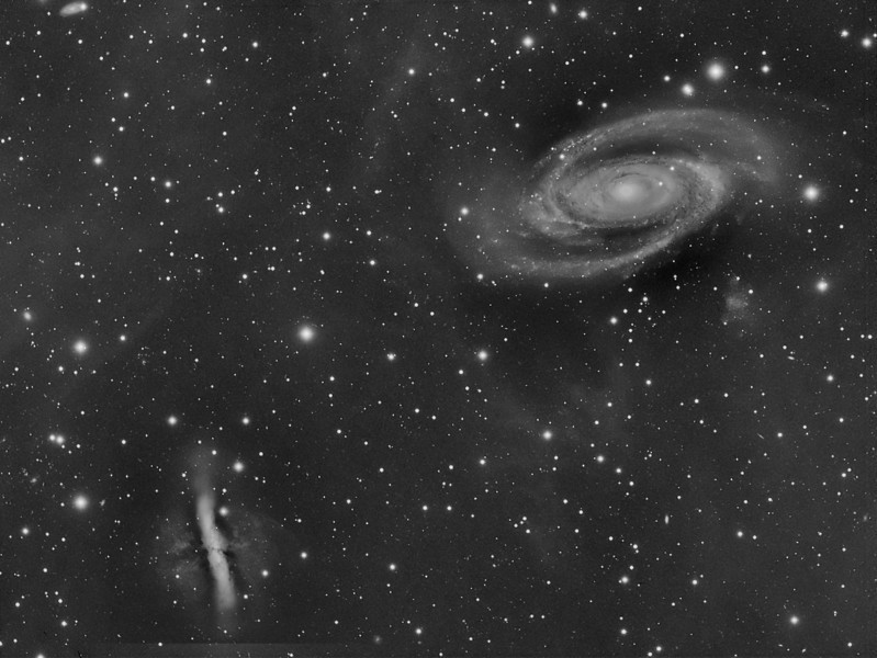 ARPS LOOP..the Integrated Flux Nebula under M81...a piece of Milky Way galactic cirrus that intrudes on our line of sight towards M81.<br /> Taken by Lynn Hilborn on Feb 22, 2011..160 minutes of Luminance binned 2x2, TEC140 @f7, ML8300 camera. WhistleStop Obs, Grafton,Ontario