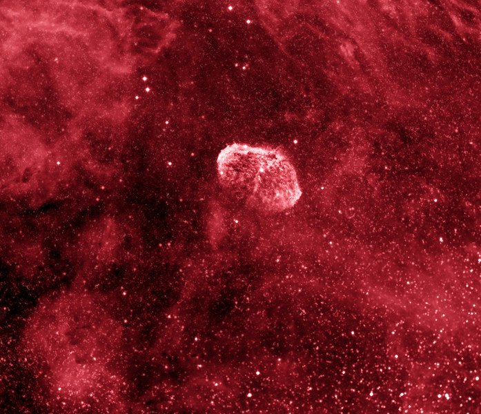 Crescent Nebula NGC6888...3.5 hours of Ha 7nm with ML8300 @-30, NP101is.<br /> Sept 15, 2009 by Lynn Hilborn, WhistleStop Obs 44N78W