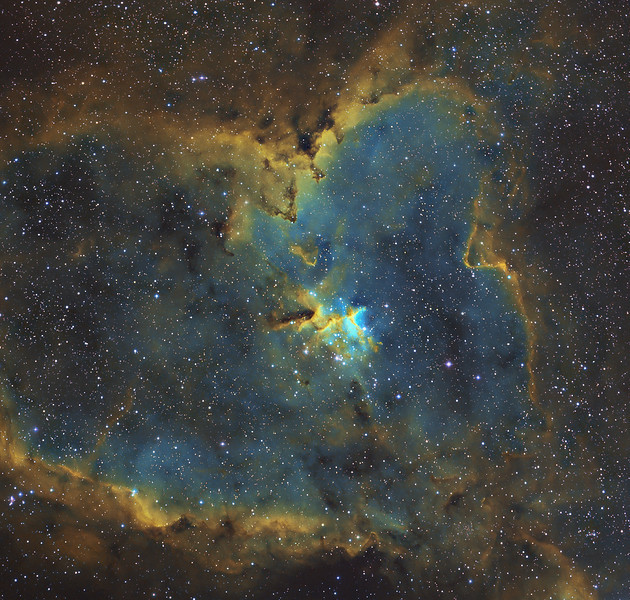 Heart Nebula (IC1805) done in narrowband with SII Ha OIII filters. Total exposure of 18 hours. Taken Sept 10,17,19,20,2010 by Lynn Hilborn, WhistleStop Obs, Grafton,Ontario.<br /> FLI ML8300 camera and NP101is @ f4.3