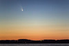 """PanSTARRS by Andreas Gada, Oak Heights Astronomical, as seen from Harwood ON Marina overlooking Rice Lake, on March 16, 2013 8:32 PM, Canon 60D, Nikkor 135 f/2.8,  ISO 6400, 1"""" exposure."""