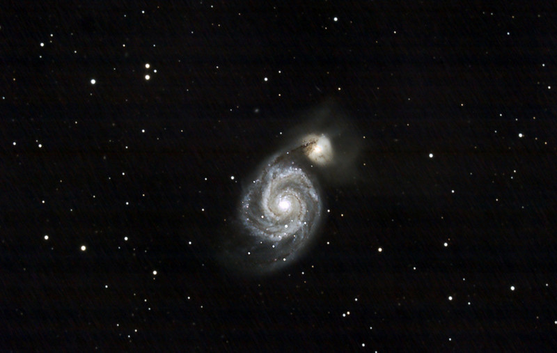 M51 with Canon 50D and C9.25 at f6.3.  33X5min exposures at 1600 ISO.  Shot May 24,2009 by Lynn Hilborn at Whistle Stop Obs, Grafton, Ontario