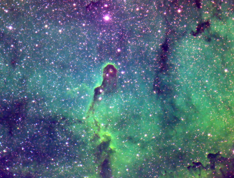 IC1396, the Elephant's Trunk in mapped colour with SII for red, Ha for green and OIII for blue.<br /> My first attempt at tricolour narrowband imaging...Lynn Hilborn