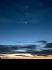 Moon and Venus at sunset from south side of Grand Canyon, March, 2004.<br /> John Merchant