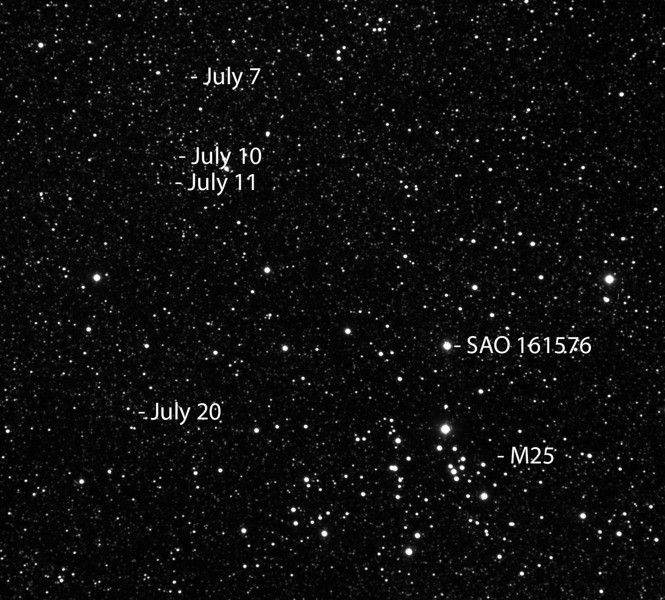 "Pluto Composite by Andreas Gada<br /> A composite image showing the motion of Pluto relative to background stars.  Ten 60"" images of Pluto were taken on July 7, 10, 11 and 20 2012 for a total of 40 Images.  Each group of ten Images were aligned and combined in MaxIm to produce a single image for each night.  These images were then aligned in MaxIm.  The final composite image was created in Photoshop where captions were added.  The images were taken at the Lorenz Observatory through an Astro-Physics Starfire 130 and an ST8300 CCD camera."