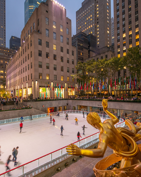 The Rink at Rockefeller Center.  Prometheus sculpture in the foreground.