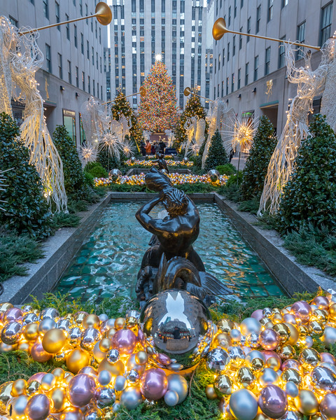 Rockefeller Center, Channel Gardens, and the Christmas Tree during the holidays.