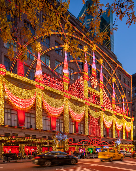 Saks Fifth Avenue Theater of Dreams Light Show on Fifth Avenue.