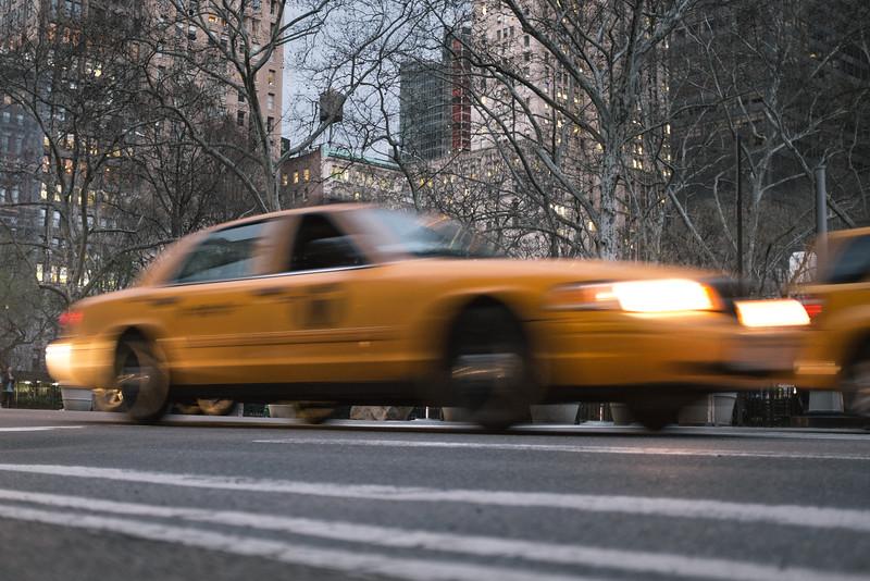 Yellow Cab at Dusk, Madison Square Park