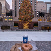 Coffee and a Bagel with Cream Cheese at the Rockefeller Center Christmas Tree the morning after lighting.