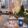 Coffee and a Bagel with Cream Cheese at Channel Gardens in Rockefeller Center  at Christmas.