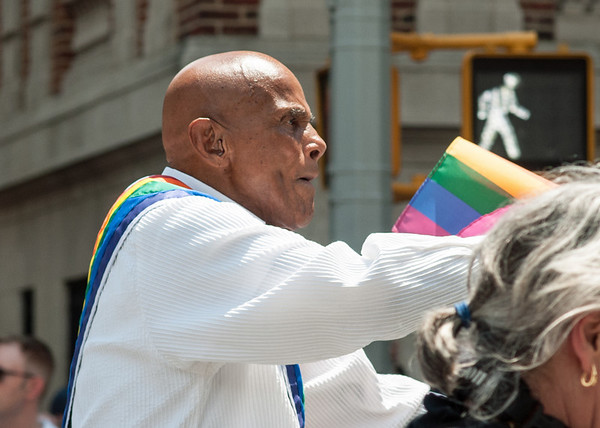 Harry Belafonte at the 2013 Gay Pride parade in Manhattan.  The singer, actor and social activist was one of three grand marshals.