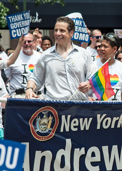 New York Governor Andrew Cuomo at the 2013 Gay Pride parade in Manhattan.  The event came almost exactly two years after he signed into law the Marriage Equality Act, making New York the 6th state to legalize same-sex marriage.