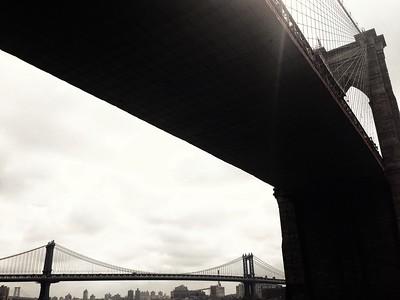 Brooklyn and Manhattan Bridges - View From Below