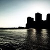 View of Southern Manhattan from Brooklyn Bridge Park - BW