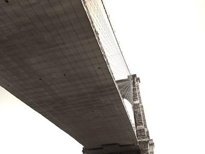 Brooklyn Bridge View From Below - BW