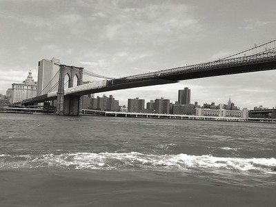 Classic BW Brooklyn Bridge Stretching Across the East River