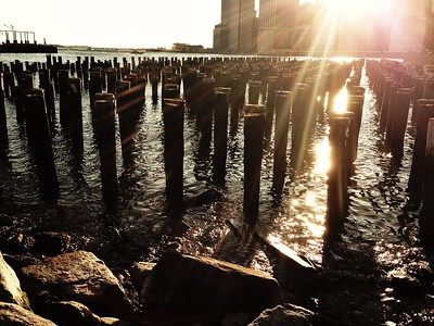 Dusk Approaches - View of Southern Manhattan from Brooklyn Bridge Park